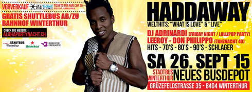 DJ Adrinardi mit Haddaway - 90er Party in Winterthur
